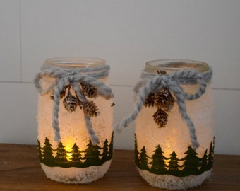 Snowy Woodland Christmas Mason Jar Luminary - Christmas Decorations - Hostess Gift - Holiday Teacher Gift