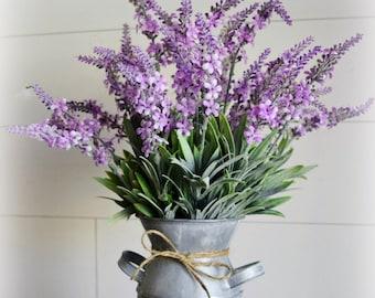 Blooming Lavender Farmhouse Floral Arrangement in Whitewashed Metal Milk Bottle