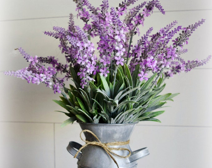 Blooming Lavender Farmhouse Floral Arrangement in Whitewashed Metal Milk Bottle