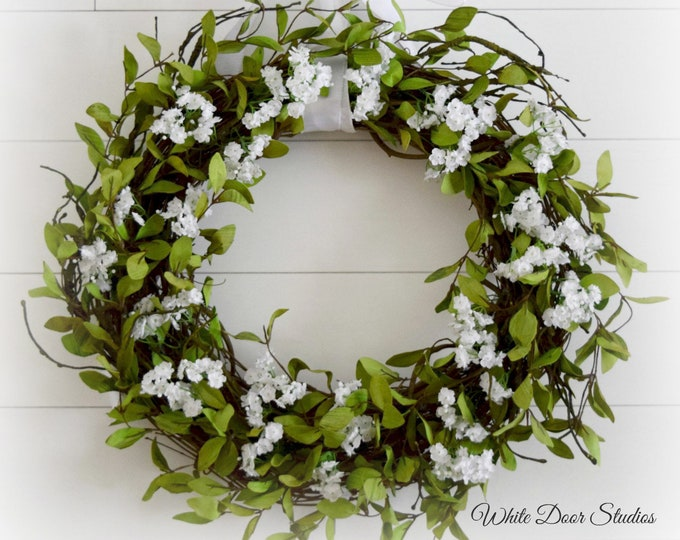 Romantic Farmhouse Greenery and White Floral Front Door Wreath