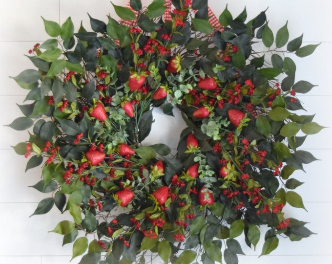 Strawberry Fields Oversized Greenery and Red Floral Summer Front Door Wreath with Faux Fruit - Country Farmhouse Kitchen Decor
