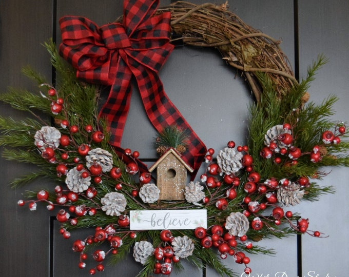 Christmas 'Believe' Evergreen and Red Berry Oversized Front Door Wreath with Red Buffalo Plaid Bow - Christmas Decoration