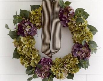 Sage Green and Lavender Hydrangea Front Door Wreath