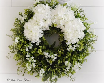 White Hydrangea and Lush Eucalyptus Greenery Wreath with Baby's Breath