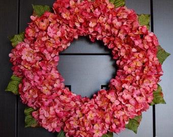 Hot Pink Hydrangea Spring Summer Front Door Wreath