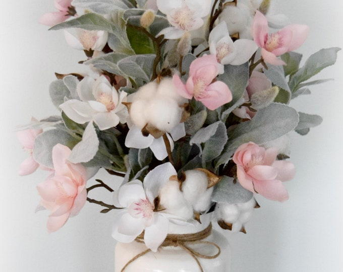 Magnolia and Lambs Ear Farmhouse Floral Arrangement with Cotton Stems - Pink and White Spring Floral Arrangement