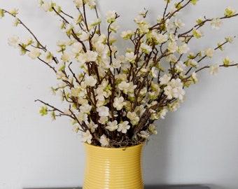Pear Blossom Arrangement in Yellow Ceramic Vase