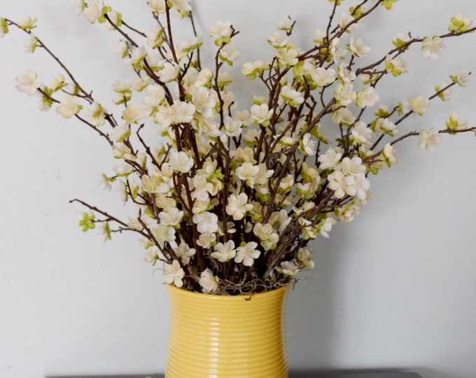 Pear Blossom Arrangement in Yellow Ceramic Vase