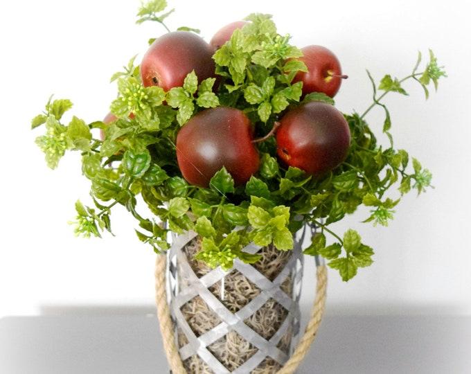 Apples and Greenery Arrangement in Rustic Galvanized Vase - Kitchen Decor - Teacher Gift Idea