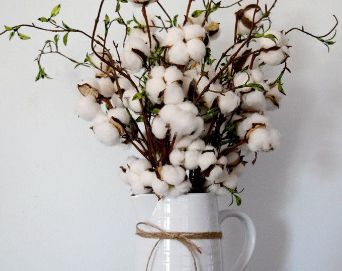 Cotton Stem and Willow Branch Arrangement in Large White Ceramic Pitcher