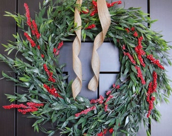 Bay Leaf and Red Berry Christmas Greenery Front Door or Fireplace Farmhouse Style Wreath