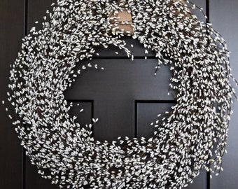 White Pip Berry Wreath for Front Door or Wedding Decor