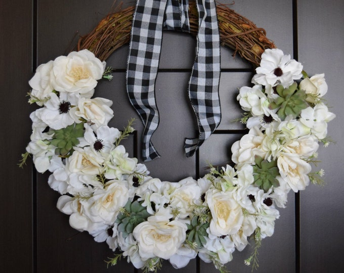 White Floral and Succulent Vintage Style Farmhouse Front Door Wreath