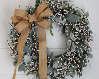 Lambs Ear and White Pip Berry Farmhouse Chic Front Door Wreath