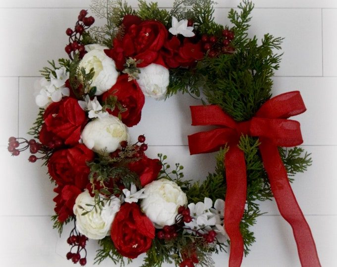 Christmas Peony and Cedar Front Door Wreath - Traditional Christmas Decor - Red and White Christmas Wreath