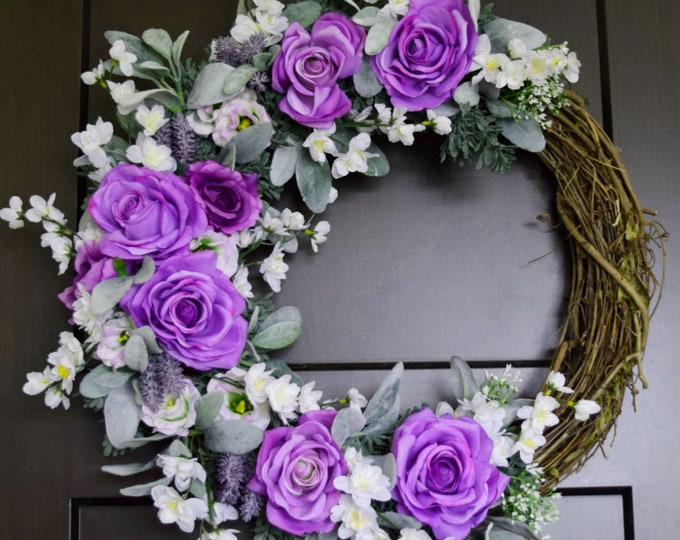 Purple Rose and White Floral Spring and Summer Front Door Wreath