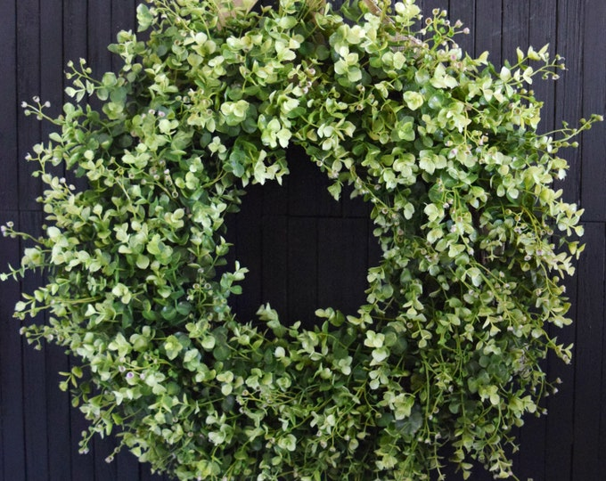 Lush Basswood and Eucalyptus Greenery Year Round Front Door Wreath, Boxwood Style Full Wreath