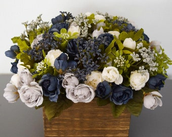 Artificial Rose Centerpiece Arrangement in Navy Gray and Cream