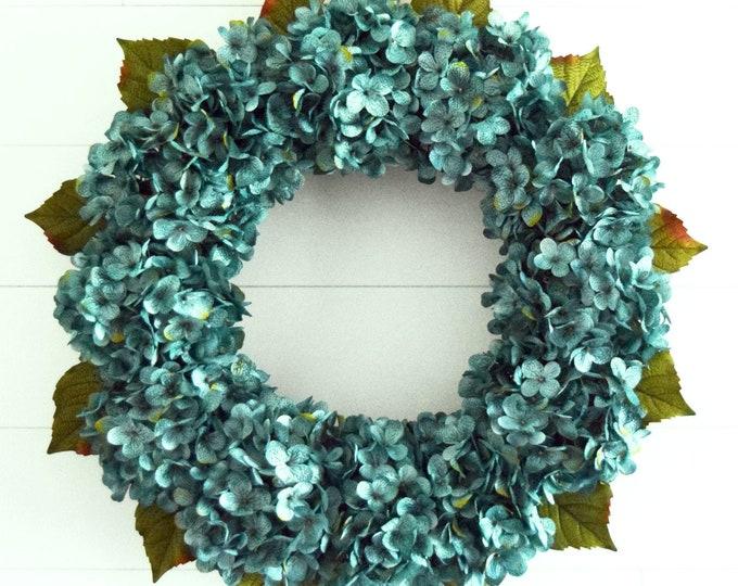 Ocean Blue Hydrangea Front Door Wreath
