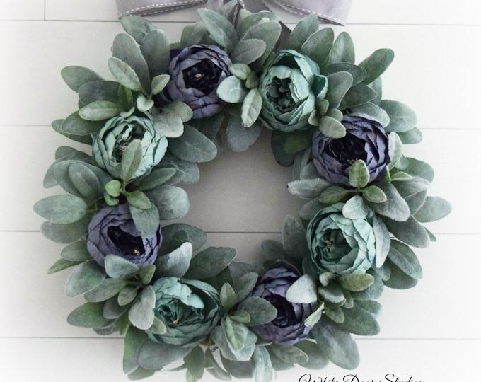 Light Blue Peony and Lambs Ear Wreath - Summer Front Door Wreath - Farmhouse Decor