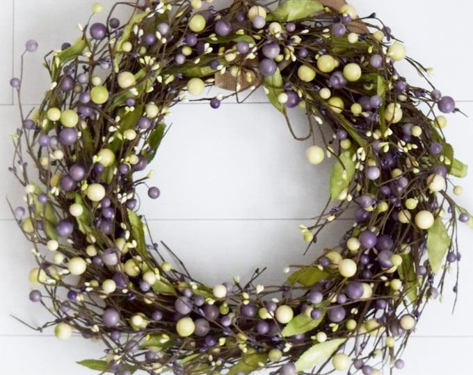 Spring Purple and Green Berry Wreath - Easter Front Door Wreath