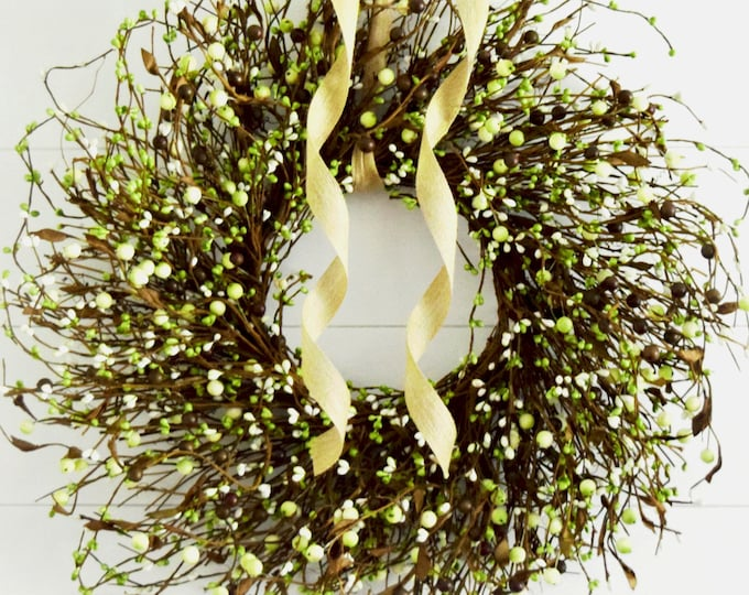Rustic Green and Cream Pip Berry Year Round Front Door Wreath