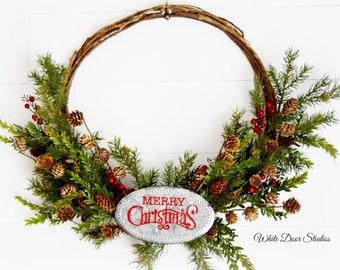 Rustic Christmas Grapevine Hoop Wreath