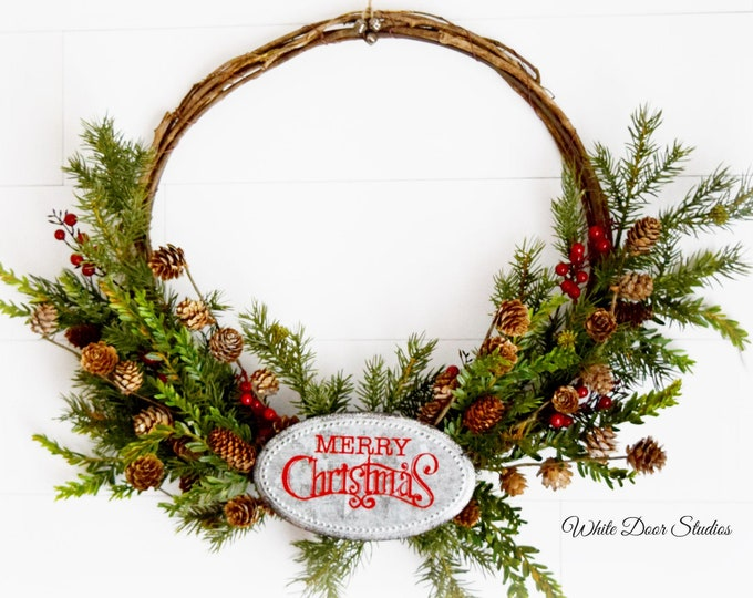 Rustic Christmas Grapevine Hoop Wreath