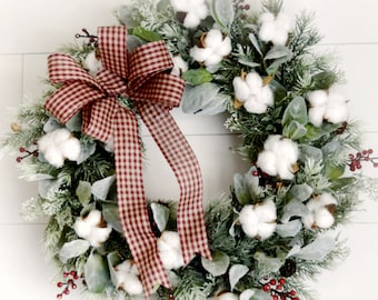 Farmhouse Christmas Wreath - Rustic Holiday Greenery Front Door Wreath
