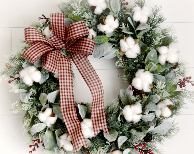 Christmas Greenery Wreath with Cotton - Rustic Farmhouse Holiday Decor