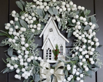 Christmas White Berry and Lambs Ear Wreath with Wooden House - Farmhouse Winter Holiday Wreath