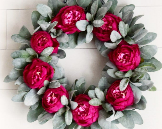 Hot Pink Peony and Lambs Ear Spring and Summer Front Door Wreath