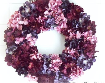 Purple Pink and Wine Red Blend Hydrangea Front Door Wreath - Ready to Ship