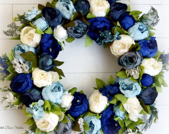 Blue Mixed Peony Front Door Wreath