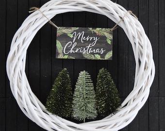 Christmas Bottle Brush Tree Wreath in Green - Modern Merry Christmas Front Door Wreath