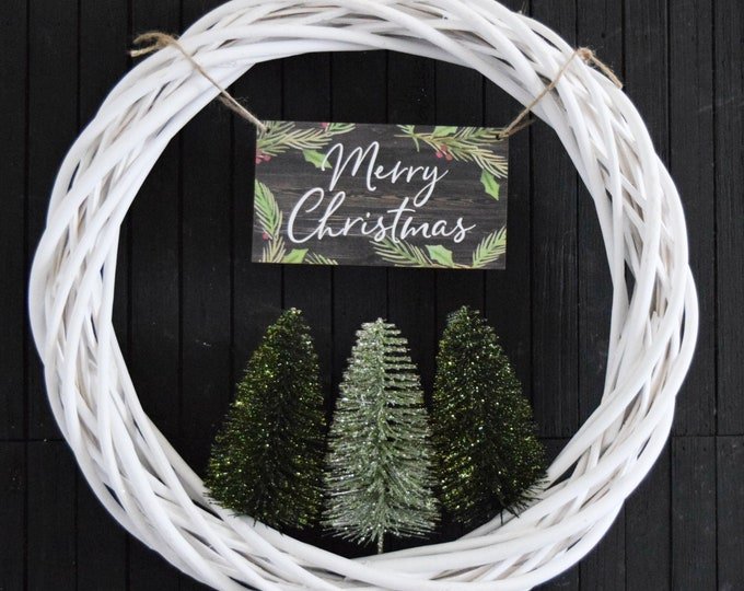 Christmas Bottle Brush Tree Wreath in Green - Modern Merry Christmas Front Door Wreath