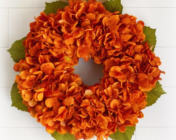 Orange Hydrangea Fall Front Door Wreath - Halloween Floral Wreath