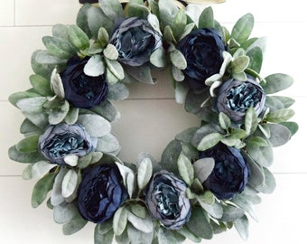 Dark Blue Peony and Lambs Ear Front Door Wreath - Farmhouse Decor
