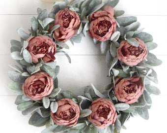 Rose Pink Peony and Lambs Ear Wreath - Spring and Summer Mauve Peony Front Door Wreath