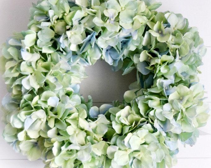 Green and Blue Hydrangea Front Door Wreath