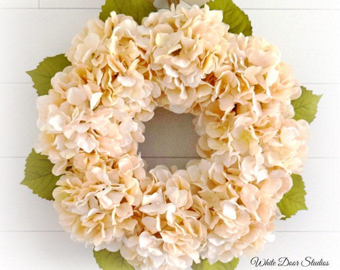 Beige Hydrangea Summer and Fall Front Door Wreath