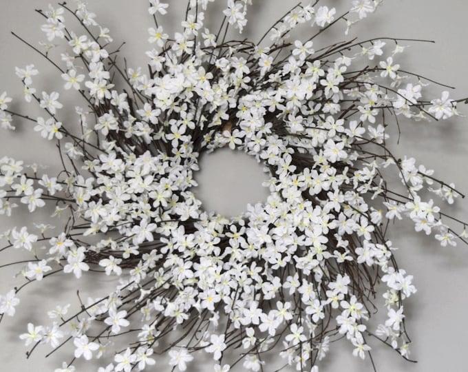 White Blossom Wreath - Spring and Summer Front Door Wreath - Wedding Decor
