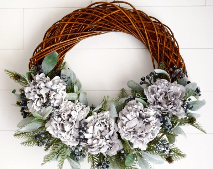 Gray Peony and Lambs Ear Winter Wreath with Evergreen