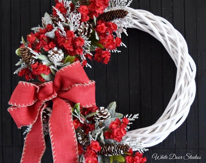 Christmas Floral Front Door Wreath - Rustic White Willow Holiday Wreath