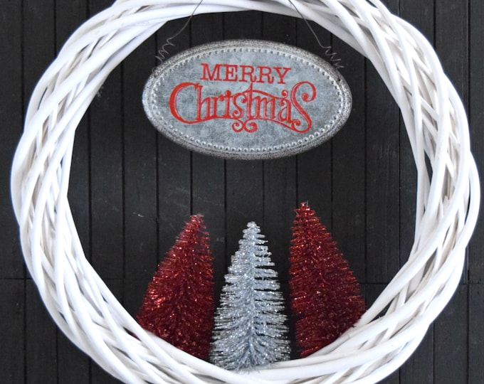 Christmas Bottle Brush Tree Wreath in Red and Silver - Modern Merry Christmas Front Door Wreath