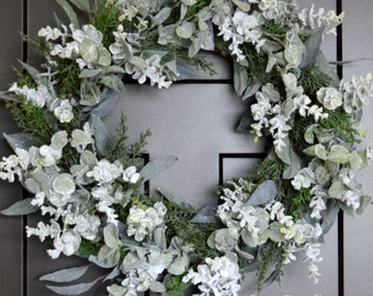 Christmas Greenery Wreath -  Farmhouse Style Winter Front Door Wreath