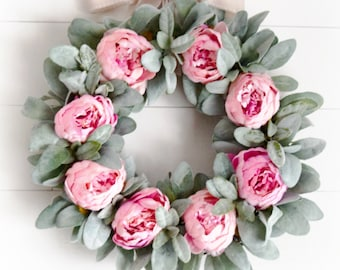 Pink Peony and Lambs Ear Spring and Summer Front Door Wreath - Valentine's Day Decor