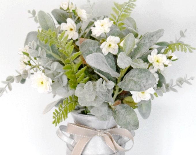 Farmhouse Floral Arrangement - Lambs Ear Eucalyptus White Rose Arrangement in Metal Milk Can