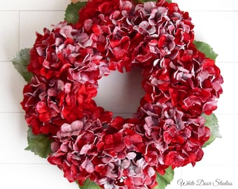 Christmas Red Hydrangea Wreath - Snowy Red Floral Holiday Wreath