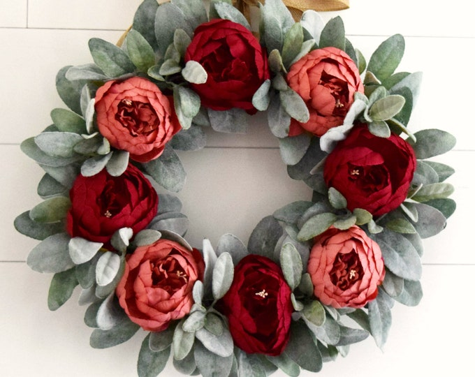 Red Blend Peony and Lambs Ear Fall Front Door Wreath - Farmhouse Decor